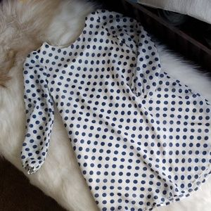 White and blue polkadot shirt